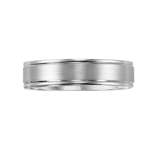 Lovemark 10k White Gold Satin Finish Men's Wedding Band - White (13.50)
