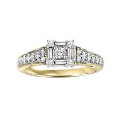 Lovemark Round-Cut Diamond Engagement Ring in 10k Gold Two Tone (1/2 ctT.W.)