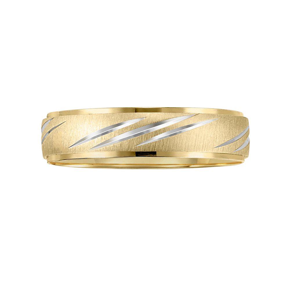 Lovemark 10k Gold Two Tone Mens Wedding Band