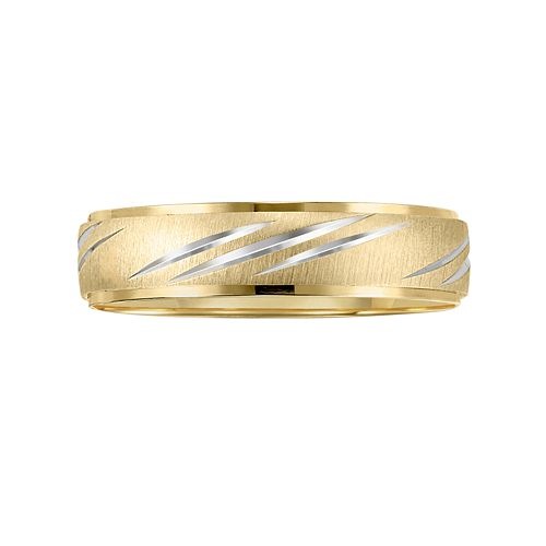 Lovemark 10k Gold Two Tone Men's Wedding Band