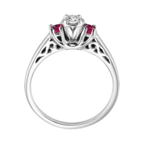 Lovemark Round Cut Diamond and Ruby Engagement Ring in 10k White Gold (1/6 ct. T.W.)