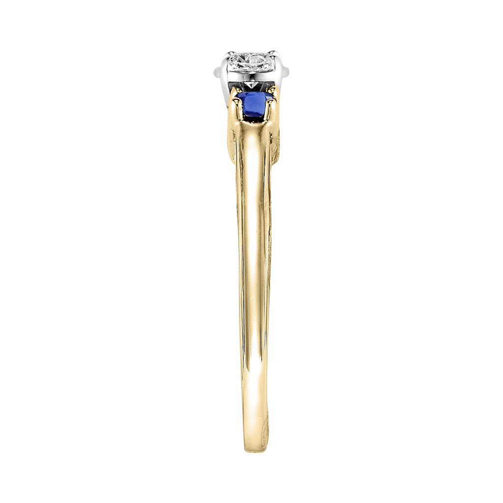 Lovemark Round-Cut Diamond & Sapphire 3-Stone Engagement Ring in 10k Gold (1/6-ct. T.W.)