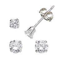 Charming Girl Kids' Sterling Silver Cubic Zirconia Stud Earring Set