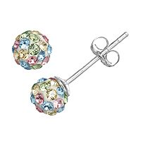 Charming Girl Kids' Sterling Silver Crystal Ball Stud Earrings