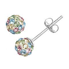 Charming Girl Kids' Sterling Silver Crystal Ball Stud Earrings