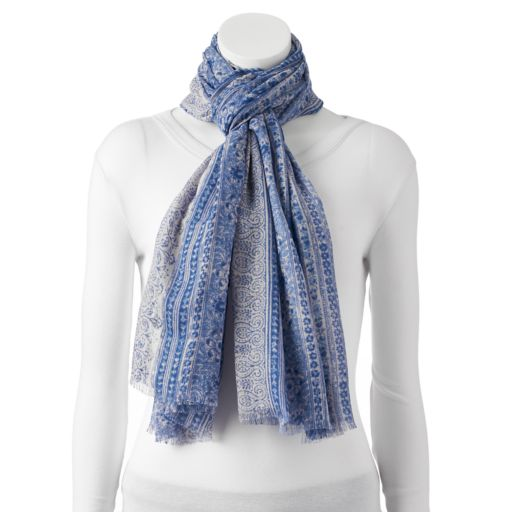 Women's Chaps Paisley Striped Oblong Scarf