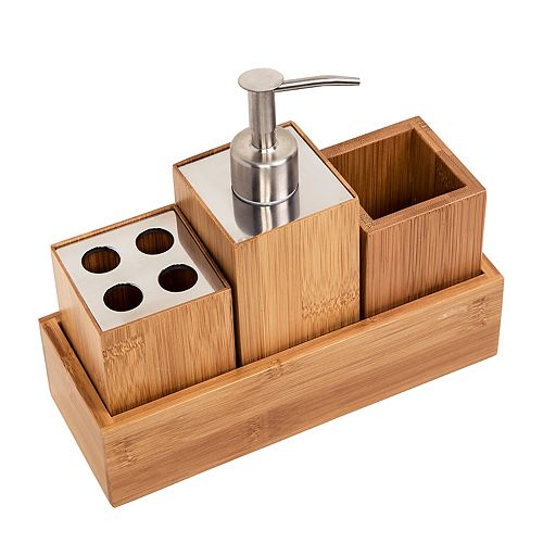 Honey-Can-Do Bamboo 4-piece Bath Accessory Set
