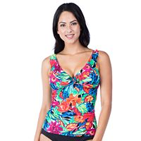 Women's Chaps Floral Ruched Tankini Top