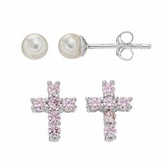 Charming Girl Kids' Cubic Zirconia Cross & Freshwater Cultured Pearl Stud Earring Set