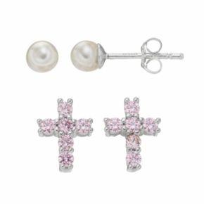 Charming Girl Kids' Cubic Zirconia Cross & Freshwater Cultured Pearl Stud Earring Set