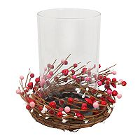 Celebrate Valentine's Day Together Artificial Berry Hurricane Candle Holder