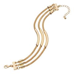 Gold Tone Mesh & Curved Bar Multi Strand Bracelet