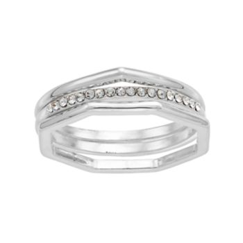 LC Lauren Conrad Teardrop, Hexagon & Pave Ring Set