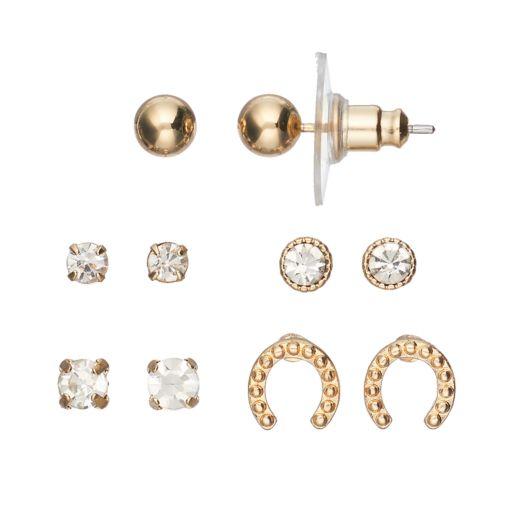 LC Lauren Conrad Horseshoe & Solitaire Nickel Free Stud Earring Set