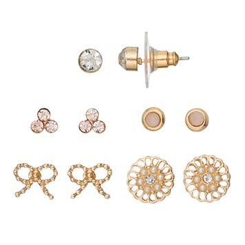 LC Lauren Conrad Bow & Solitaire Nickel Free Stud Earring Set