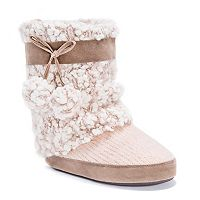 Women's MUK LUKS Riley Boucle Knit Boot Slippers