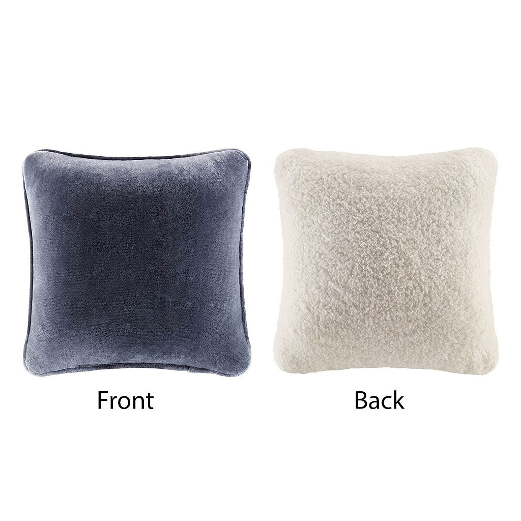 Cuddl Duds Solid Sherpa Backed Throw Pillow