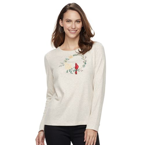 Women's Croft & Barrow® Holiday Crewneck Tee