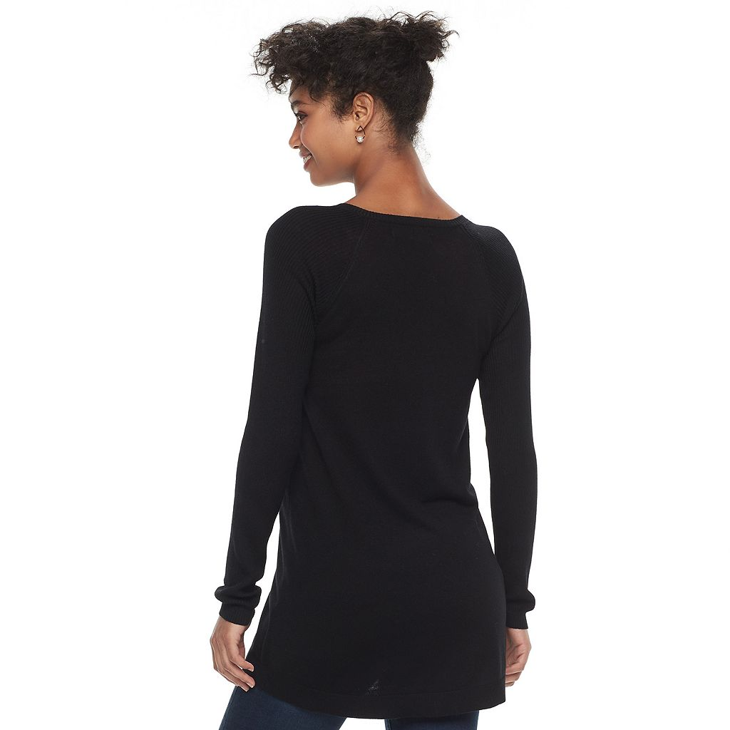 Women's Apt. 9® Ribbed Sleeve Tunic Sweater