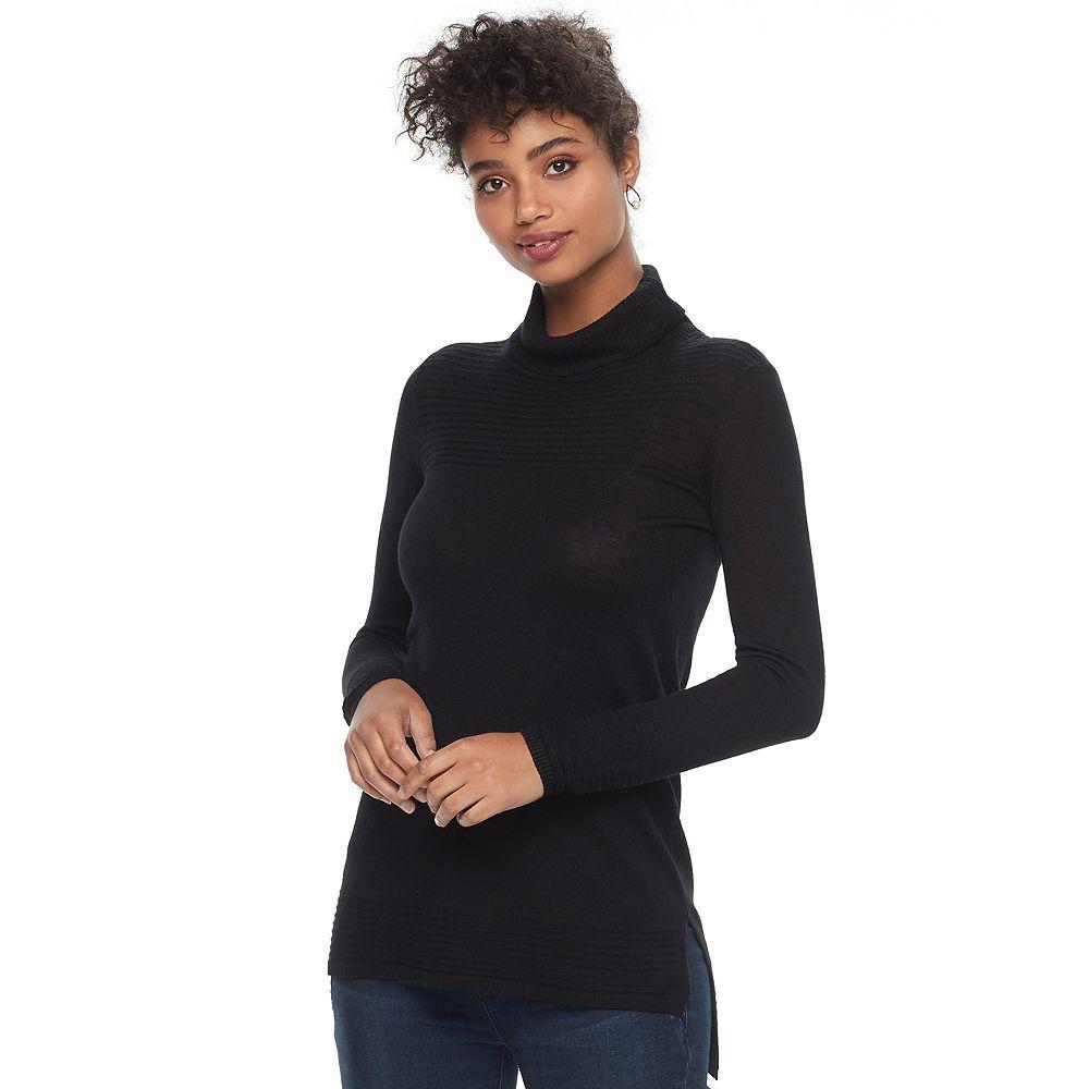 Apt. 9® Textured Hem Turtleneck Sweater