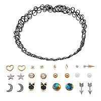 Tattoo Choker Necklace & Assorted Stud Earring Set