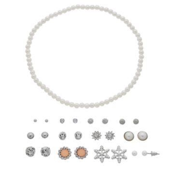 Mudd® Simulated Pearl Choker Necklace & Snowflake Stud Earring Set