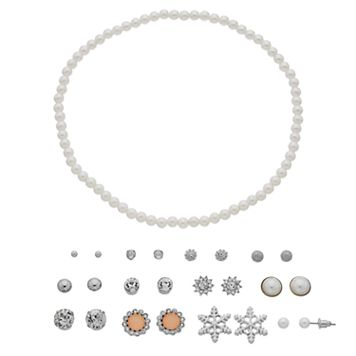 Mudd® Simulated Pearl Choker Necklace & Snowflake Stud Earring Set