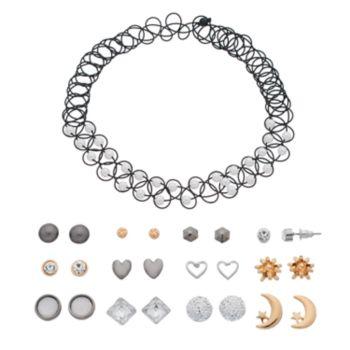 Mudd® Tattoo Choker Necklace & Heart Stud Earring Set