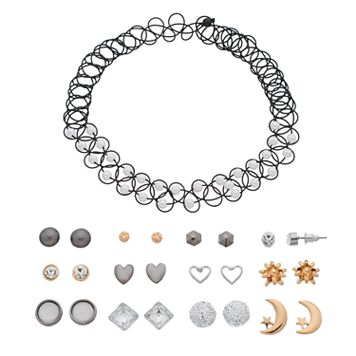 Mudd® Tattoo Choker Necklace & Heart Stud Earring Set