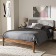 Baxton Studio Leyton Mid-Century Upholstered Platform Bed