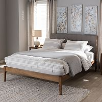 Baxton Studio Clifford Mid-Century Upholstered Bed