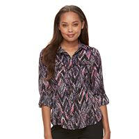 Petite Dana Buchman Patterned Button-Down Shirt