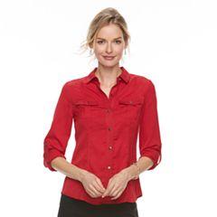 Petite Dana Buchman Patterned Button-Down Shirt