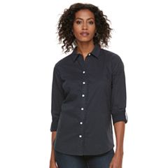 Women's Croft & Barrow® Ruffle Placket Button-Down Shirt