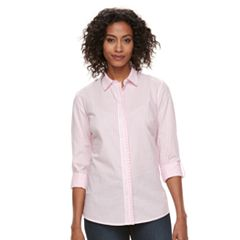 Women's Croft & Barrow® Ruffle Placket Button-Down Shirt