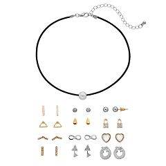 Mudd® Simulated Pearl Choker Necklace & Stud Earring Set