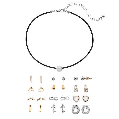 Mudd® Simulated Pearl Choker Necklace & Stud Earring Set
