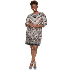 Plus Size Suite 7 Chevron Shift Dress