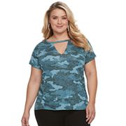 Plus Size Rock & Republic® Camo Cutout Tee