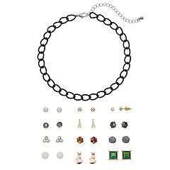 Mudd® Choker Necklace & Eiffel Tower Stud Earring Set