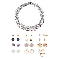 Mudd® Beaded Tattoo Choker Necklace & Stud Earring Set