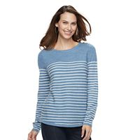 Women's Croft & Barrow® Button Shoulder Shirttail Sweater