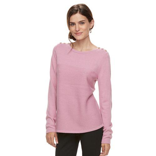 Women's Croft & Barrow® Button Shoulder Shirttail Sweater