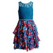 Girls 7-16 Emily West Lace Floral Ruffled Corkscrew Dress