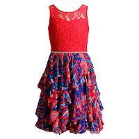 Girls 7-16 Emily West Lace Printed Ruffled Corkscrew Dress