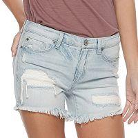 Juniors' Mudd® Frayed Midi Jean Shorts
