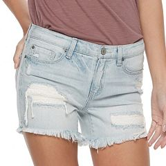 Juniors' Mudd® Frayed Midi Jean Shorts