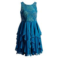 Girls 7-16 Emily West Sequin Rose Ruffled Corkscrew Dress