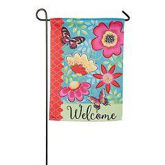 Evergreen 18' x 12.5' Flowers 'Welcome' Indoor / Outdoor Garden Flag