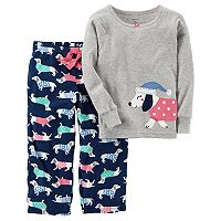 Baby Girl Carter's Embroidered Animal Applique Top & Microfleece Bottoms Pajama Set